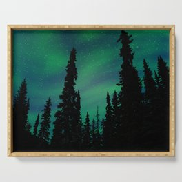 Northern Lights Over the Forest Serving Tray