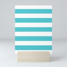Sea Serpent - solid color - white stripes pattern Mini Art Print