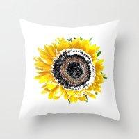 sunflower Throw Pillows featuring Sunflower by Regan's World
