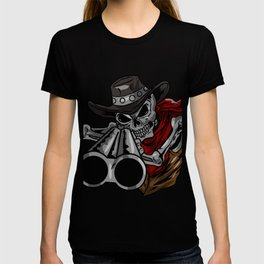 Cowboy  Skull Gun Skeleton  Bones  Face Head Gift  T-shirt