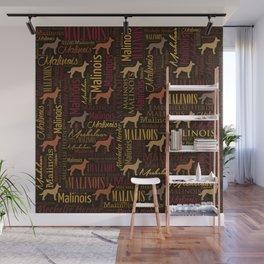 Belgian Malinois Dog Word Art pattern Wall Mural