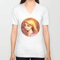 rapunzel V-neck T-shirts featuring Rapunzel by Vincent Vernacatola