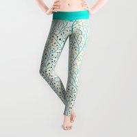 cat Leggings featuring Berry Branches – Turquoise & Gold by Cat Coquillette