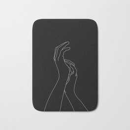 Hands line drawing illustration - Carly Black Bath Mat