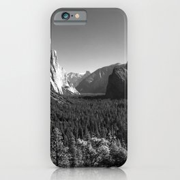 Yosemite Valley Tunnel View under Clear Skies (Black and White) iPhone Case