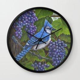Blue Jay and Grapes Wall Clock