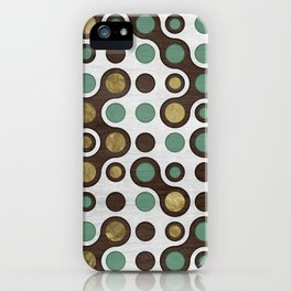Geometric Pattern - Teal, Wood and Golden Texture iPhone Case