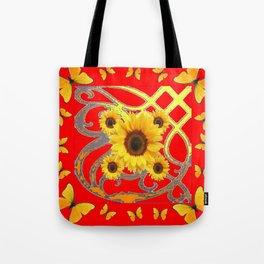SUNFLOWER RED MODERN ART YELLOW BUTTERFLIES ABSTRACT Tote Bag