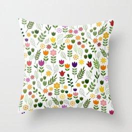 Scandinavian Style Flora & Fauna Pattern Throw Pillow
