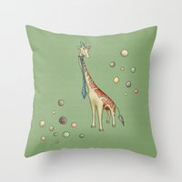 giraffe Throw Pillows featuring Giraffe by Catru