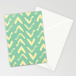 Modern Brush Stroke Chevrons - Green & Yellow Stationery Cards