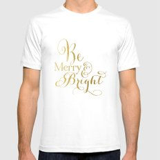 Be Merry & Bright MEDIUM Mens Fitted Tee White