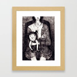 A girl and her Dolls Framed Art Print