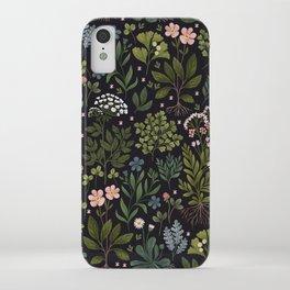 Herbarium ~ vintage inspired botanical art print ~ black iPhone Case