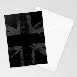 Grey Grunge UK flag Stationery Cards
