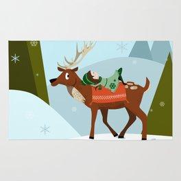 Christmas deer and elf Rug