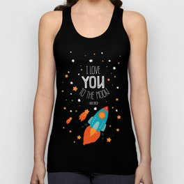 Space card I Love you to the moon and back Unisex Tank Top