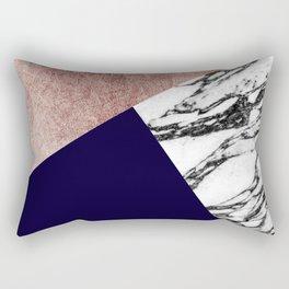 Modern Marble Rose Gold and Navy Blue Tricut Geo Rectangular Pillow