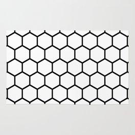 White and black honeycomb pattern Rug