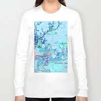 vintage floral Long Sleeve T-shirts featuring Blue Floral Impressions Vintage by Saundra Myles