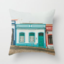Turquoise Blue and Red Houses in Lagos, Portugal Throw Pillow