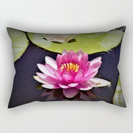 Pink Waterlily Reflects Rectangular Pillow