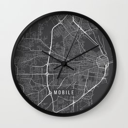 Mobile Map, Alabama USA - Charcoal Portrait Wall Clock