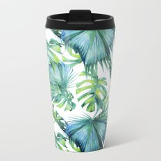 Blue Jungle Leaves, Monstera, Palm #society6 Metal Travel Mug