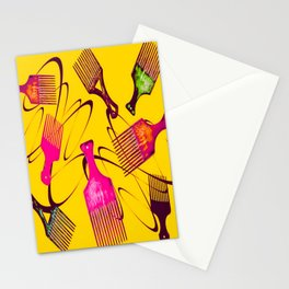 Afro Comb-Orange Stationery Cards
