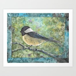 Watercolor Chickadee Art Print
