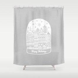 Linocut White Holidays Shower Curtain