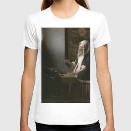 Woman Holding a Balance Oil Painting by Johannes Vermeer T-shirt