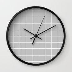 Grid (White/Silver) Wall Clock