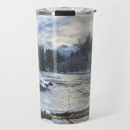 Morning on the McKenzie River Between Snowfalls Travel Mug