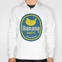 sticker Hoodies featuring Banana Sticker On Yellow by Karolis Butenas