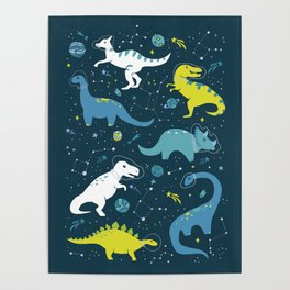 Space Dinosaurs in Bright Green and Blue Poster