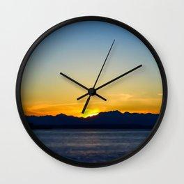 seattle sunset Wall Clock