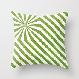 Stripes explosion - Green Throw Pillow