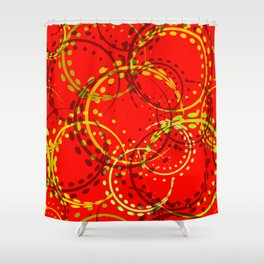 Mustard curls and circles of yellow and brown shades on a red background. Shower Curtain