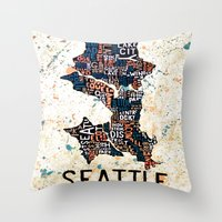 seattle Throw Pillows featuring Seattle by Artful Schemes