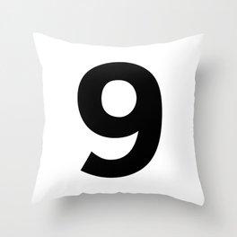 Number 9 (Black & White) Throw Pillow