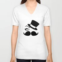 mustache V-neck T-shirts featuring mustache  by LCMedia
