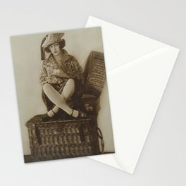 Victorian Vintage Posing Lady On A Basket Stationery Cards