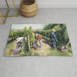 Vineyard Watercolor Landscape Wine Grapes Nature Rug