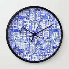 Dutch Row Houses Wall Clock