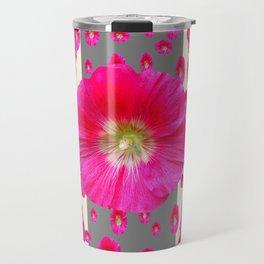 PINK-CERISE HOLLYHOCK FLOWERS  CREAM & GREY GARDEN Travel Mug