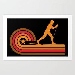 Retro Style Cross Country Skier Vintage Skiing Art Print