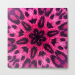 Adorable Pink Spotted Leopard Kaleidoscope Metal Print
