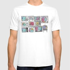 colour tv White Mens Fitted Tee MEDIUM
