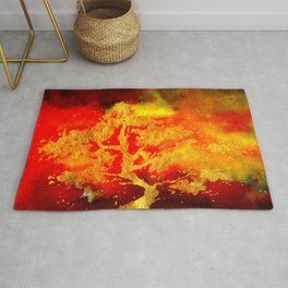 Golden Tree in Flames Rug